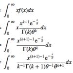 ガンマ分布の期待値と分散を密度関数から導出する